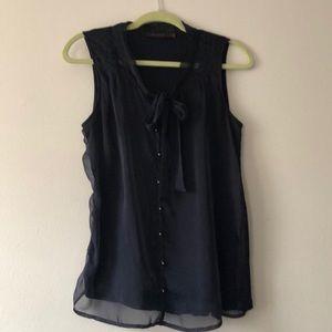Navy Banana Republic sleeveless blouse